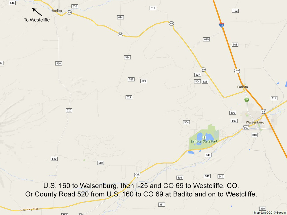 Alamosa to Westcliffe, Colorado via U.S. 160, I-25, and CO 69 with the County Road 520 short cut. Click to see a larger version.