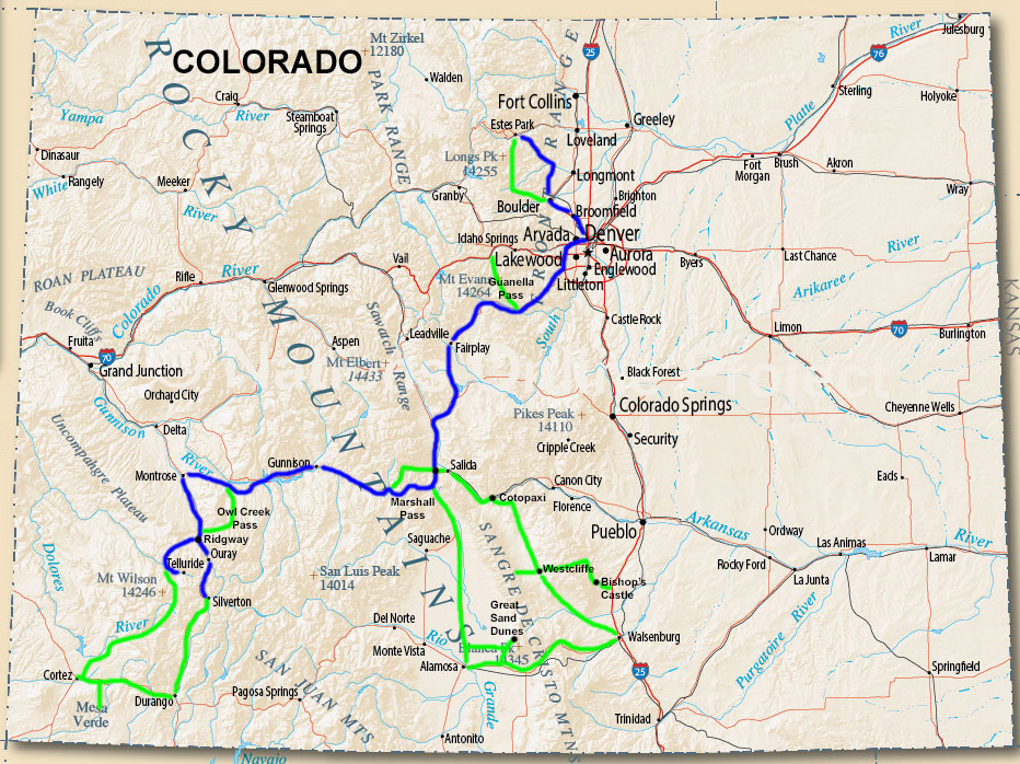 One week fall color trip in Colorado. (Two weeks with optional side trips.) Click to see a larger version.