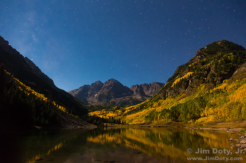 The Maroon Bells and Maroon Lake by Moonlight with the Milky Way. Colorado.