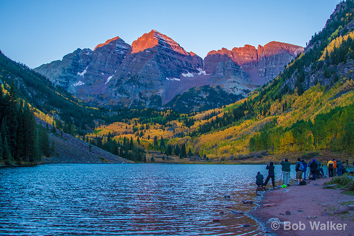 Maroon Bells and Maroon Lake. Jay on his rock, Jay's wife, me, and other photographers.