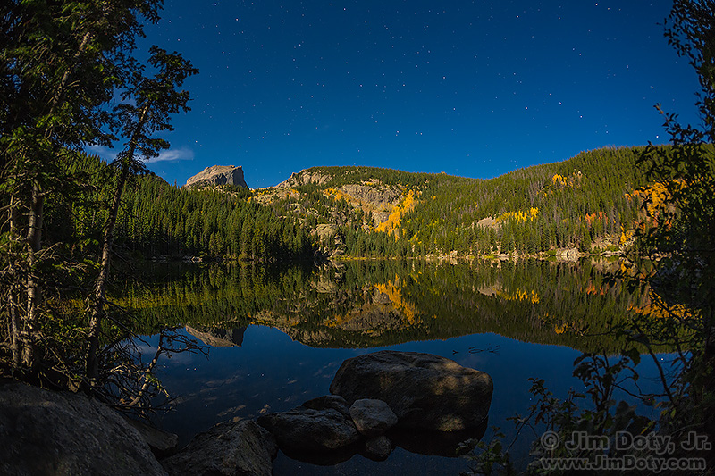 Bear Lake, Hallett Peak, and Flattop Mountain in the Moonlight. September 26, 2015.