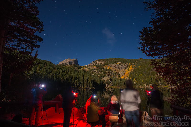 Photography workshop out at night. Bear Lake, Rocky Mountain National Park.