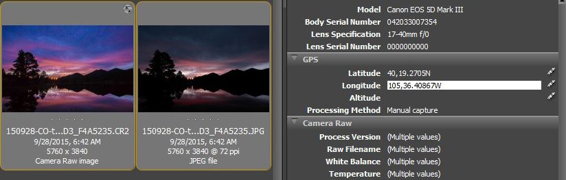 Adobe Bridge, partial screen capture. Latitude has been entered and longitude is being entered.
