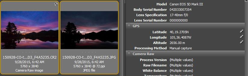 Adobe Bridge, partial screen capture after GPS coordinates have been entered.