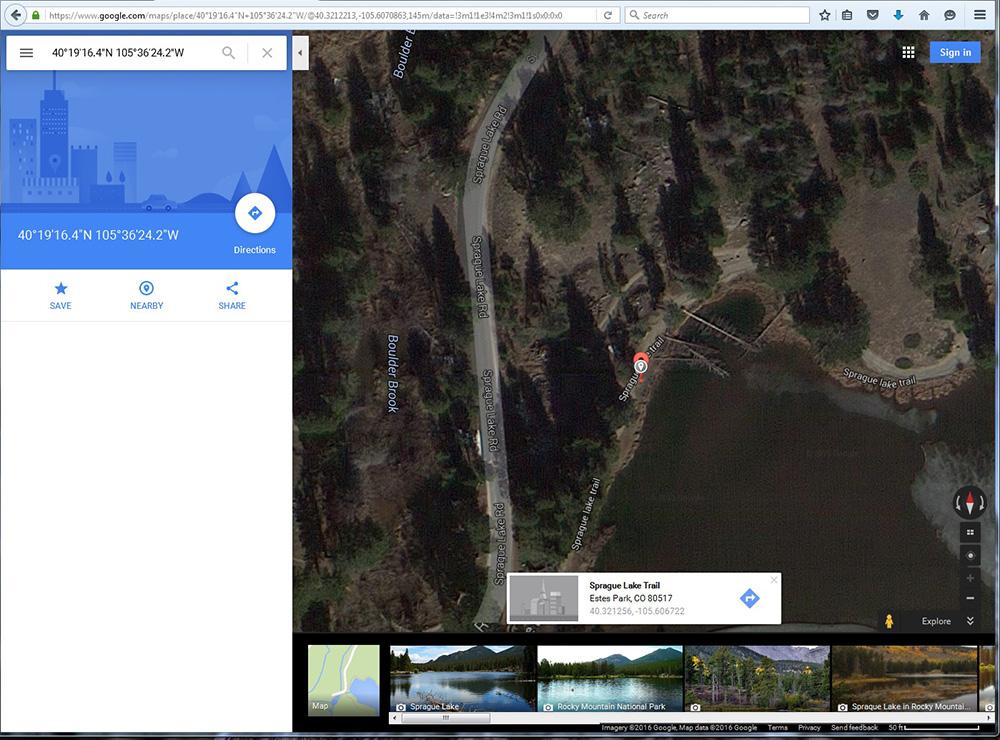 Sprague Lake photo location in Google Maps.