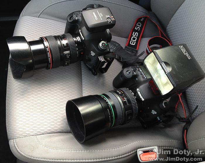 Canon 5D Mark III with a GPS unit in the hotshoe. Canon 7D Mark II with built in GPS.