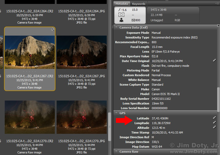 Partial screen capture of the El Capitan photo selected in Adobe Bridge.