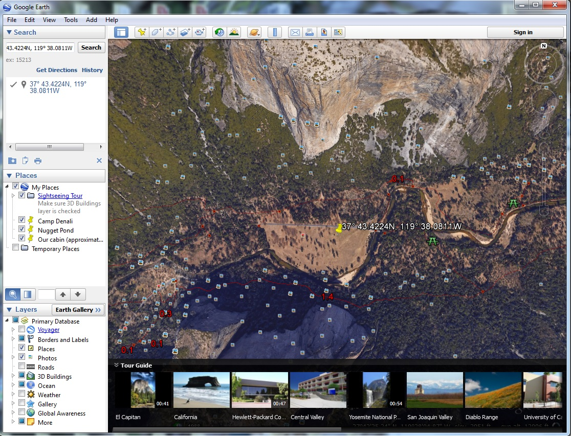 Photo location in Google Earth for the image of three women and Cathedral Rocks. Click to see a larger version.