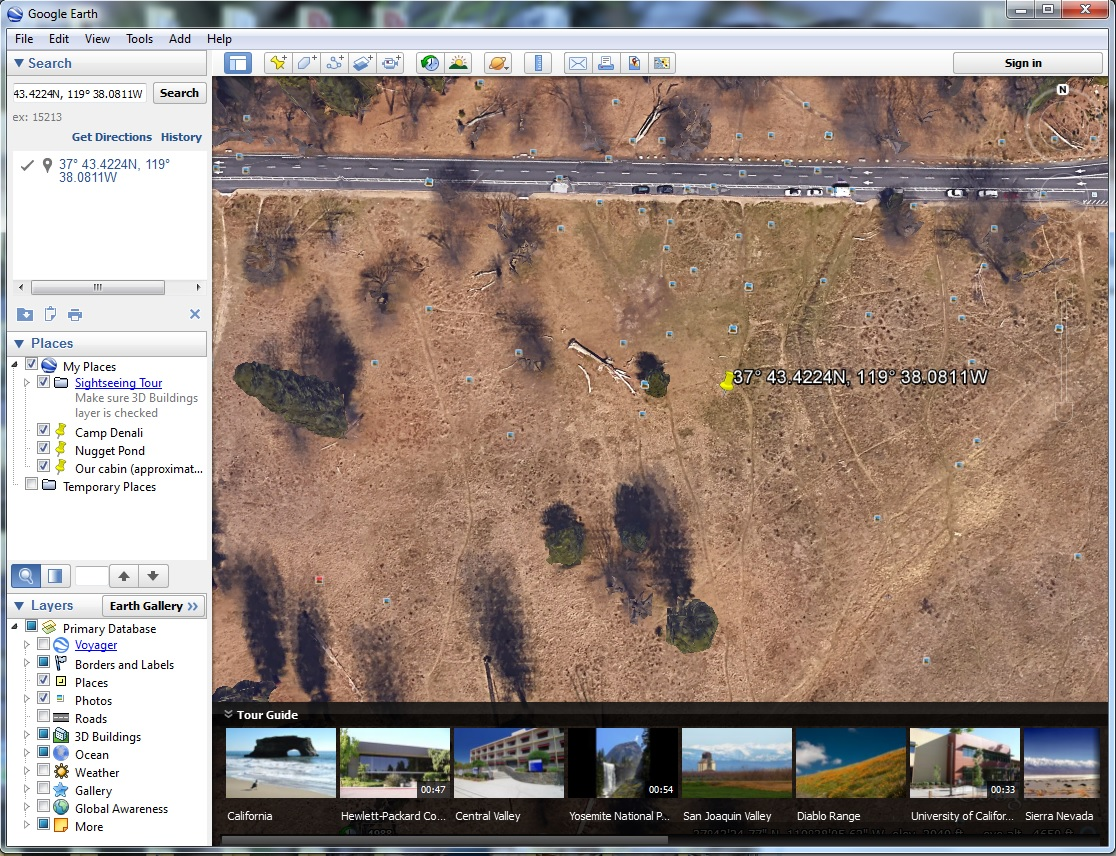 Photo location in Google Earth for the image of three women and Cathedral Rocks.