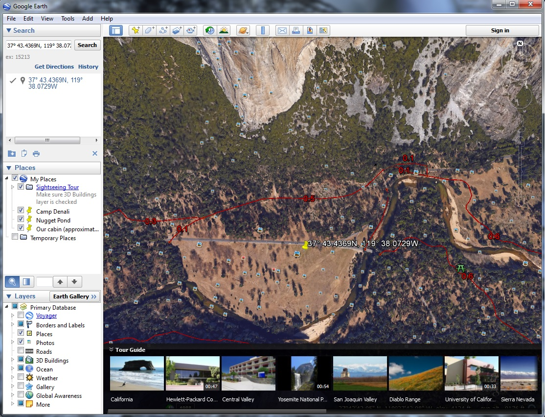 El Capitan photo location in Google Earth.
