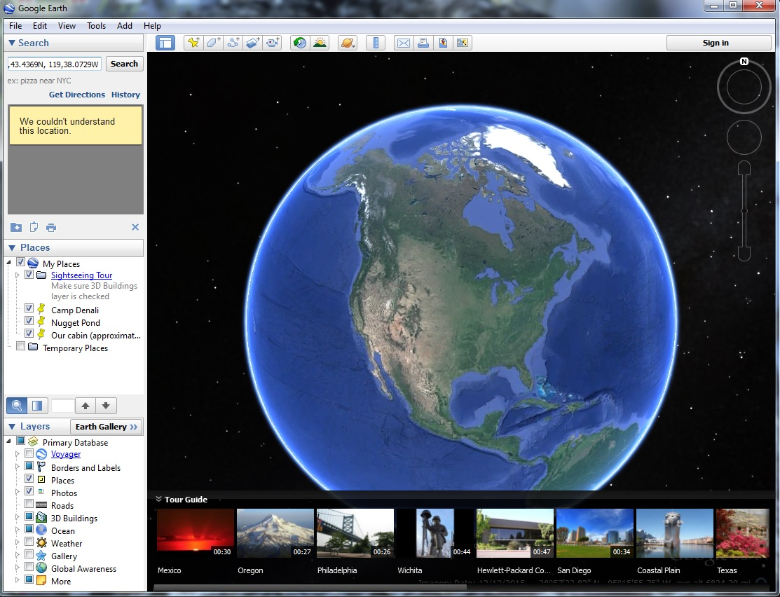 Google Earth with yellow error message box.
