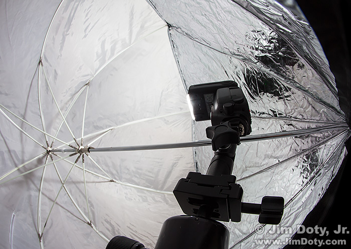 Inside a Halo softbox with the flash pointed at the translucent fabric.
