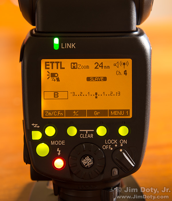 Yongnuo 600 EX-RT Radio Controlled Speedlite in receive/slave mode.