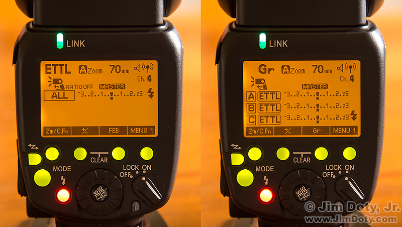 The LCD panels on two Yongnuo 600 EX-RT Speedlites.