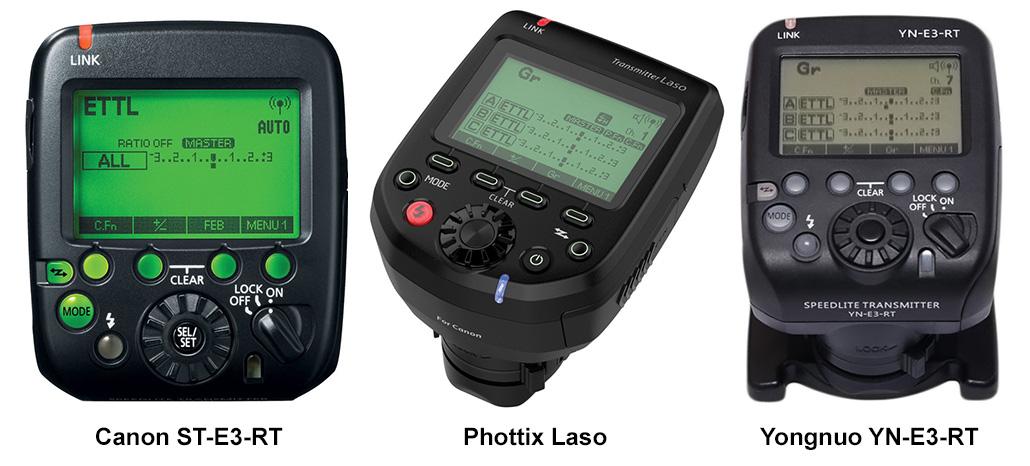 Three Canon compatible radio transmitters.