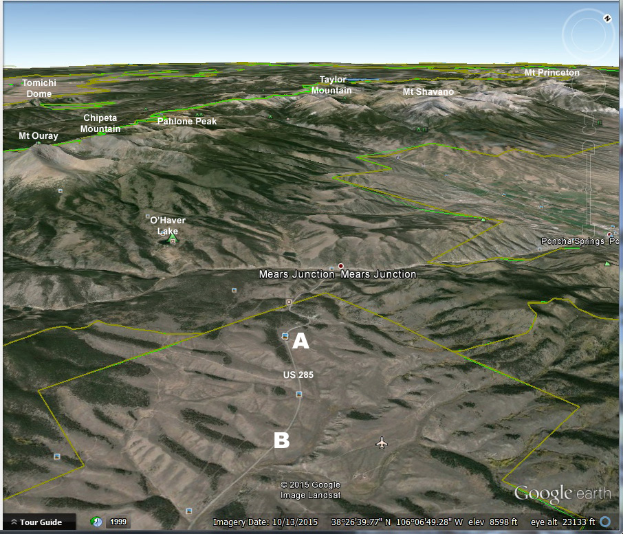 Google Earth, looking northwest from the area east of Villa Grove, Colorado. Click to see a larger version.