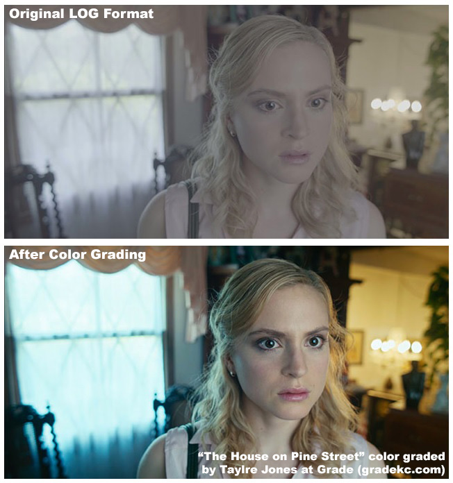 """The House on Pines Street"" before and after color grading."