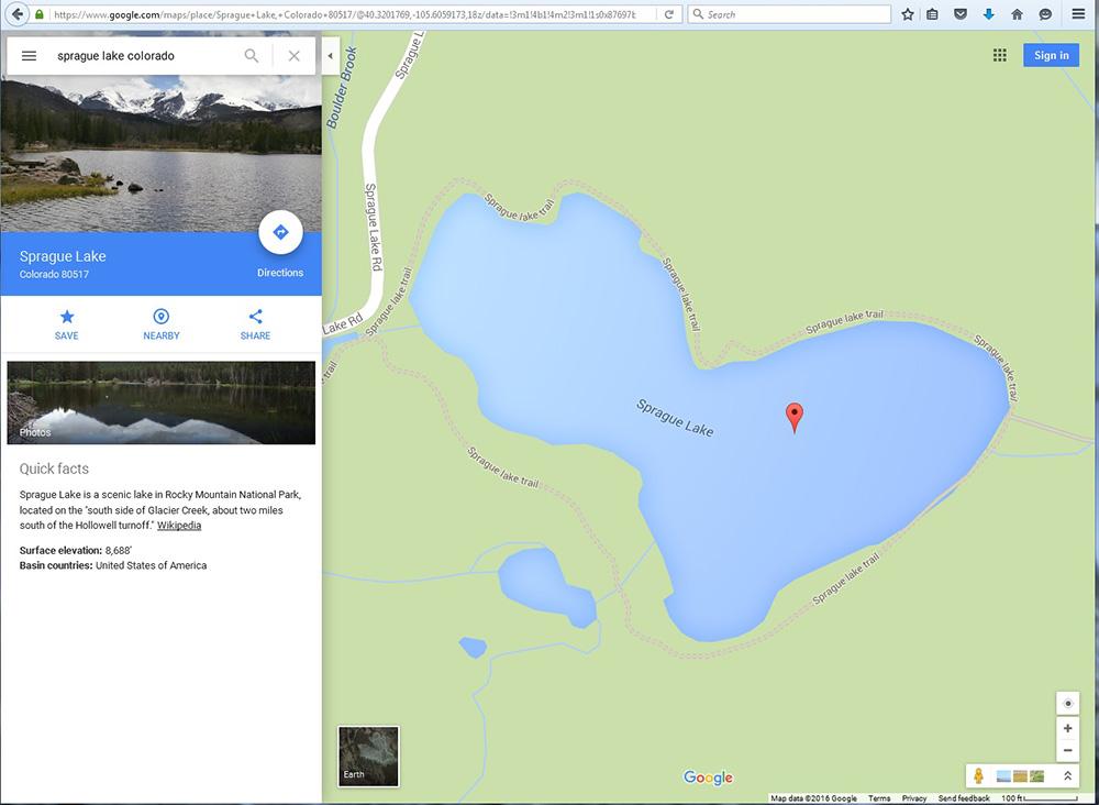 Sprague Lake Colorado in Google Maps