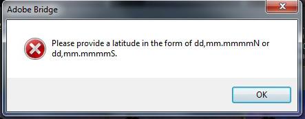 GPS entry message in Adobe Bridge