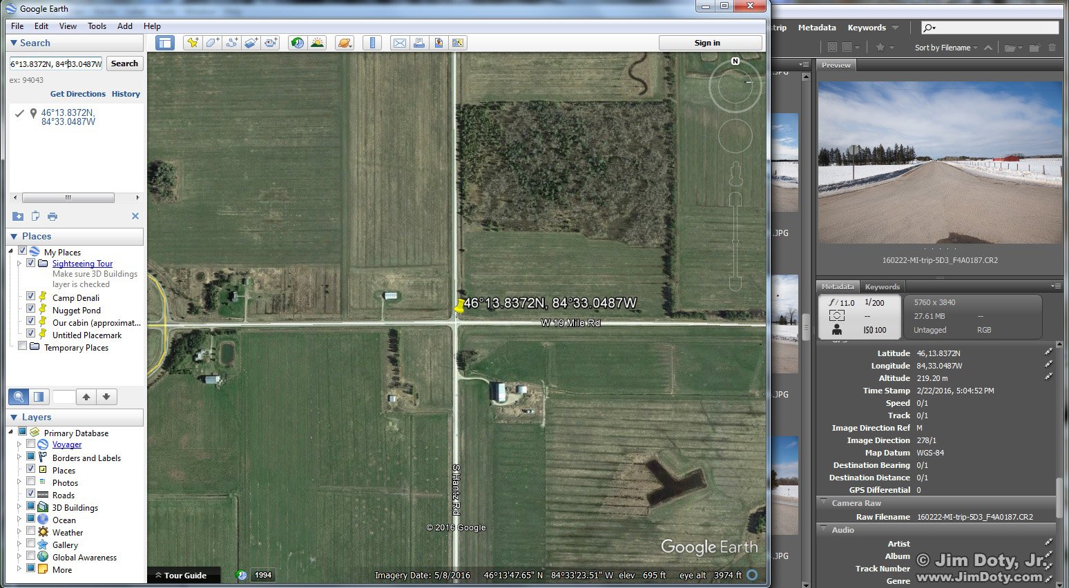 Google Earth and Adobe Bridge. GPS coordinates from a Canon 5D Mark III.