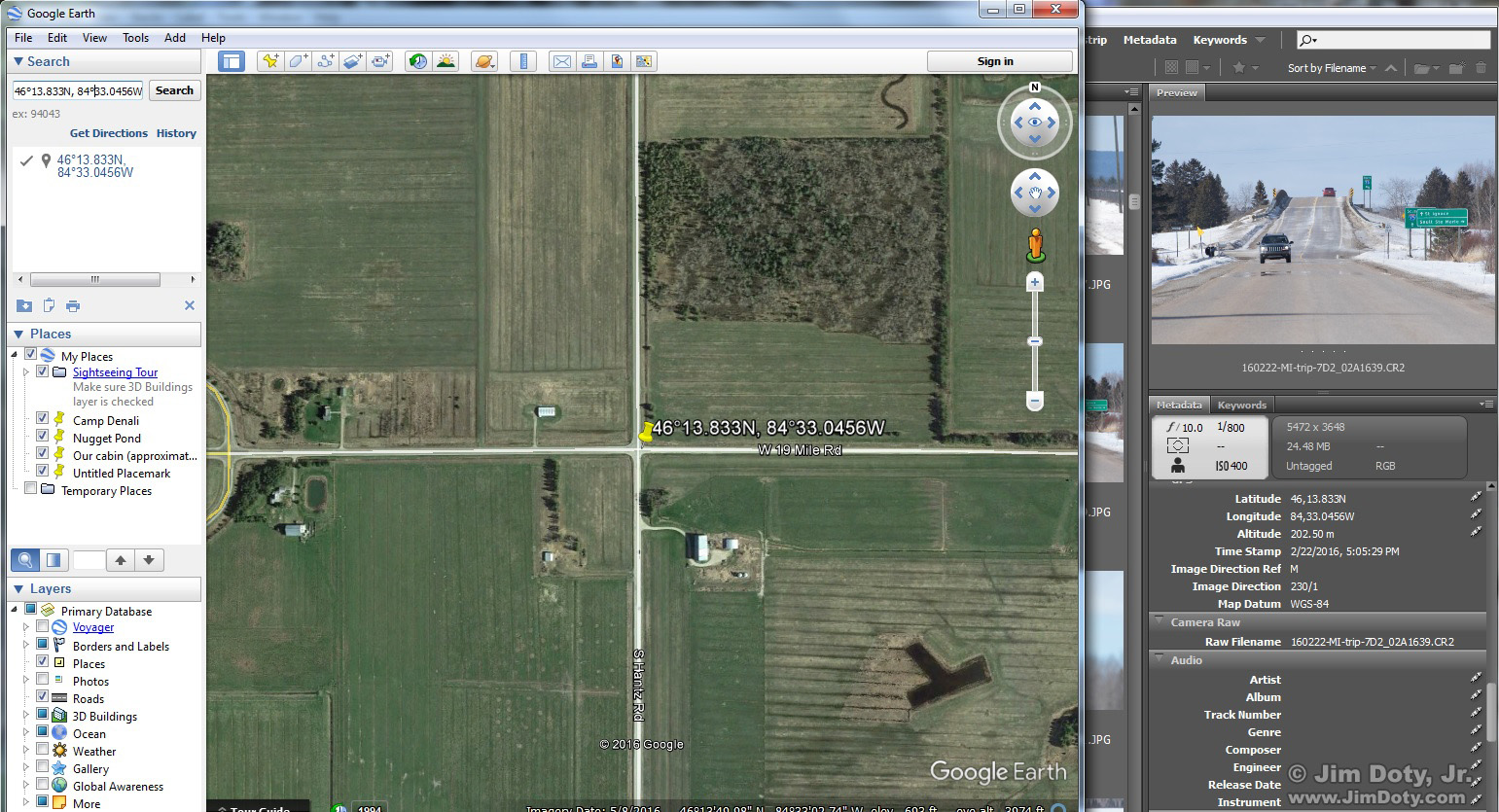 Google Earth and Adobe Bridge. GPS coordinates from a Canon 7D Mark II. Click for a larger view.
