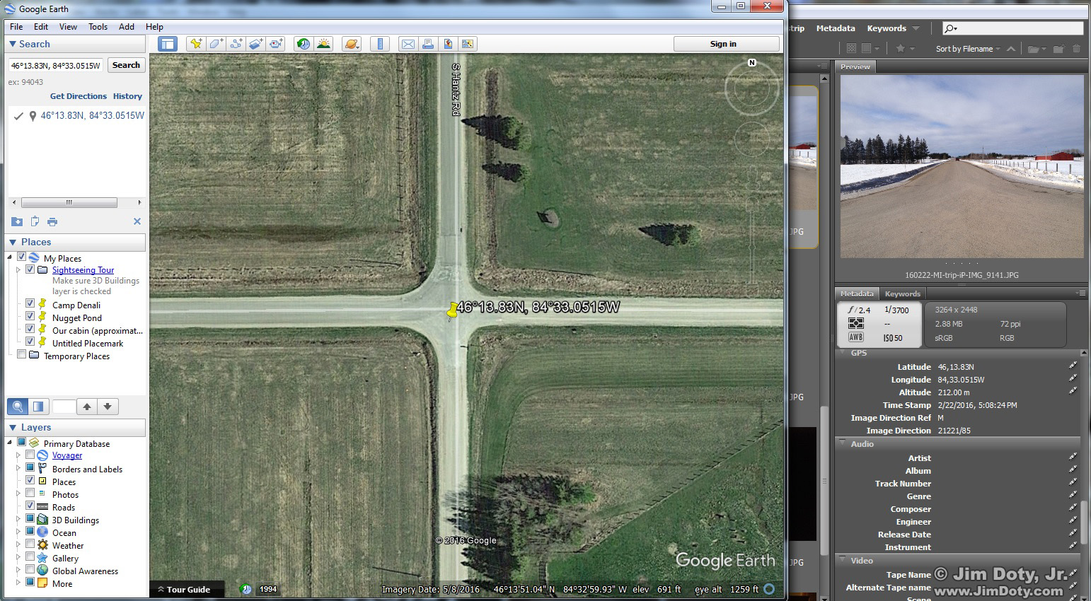 Google Earth and Adobe Bridge. GPS coordinates from an iPhone. Click for a larger view.