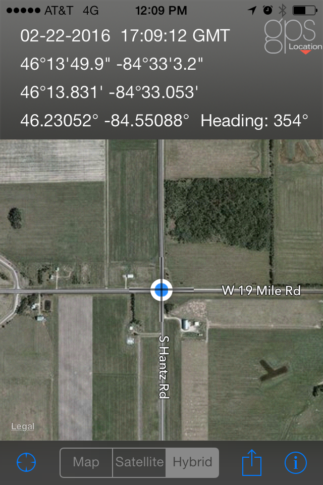 GPS coordinates from the same location using the app GPS Location.