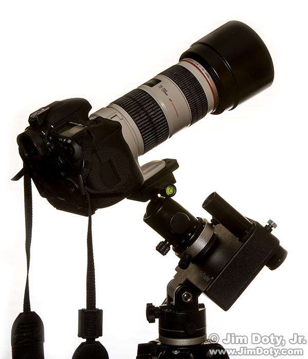 Camera and lens on iOptron Sky Tracker and ball head.