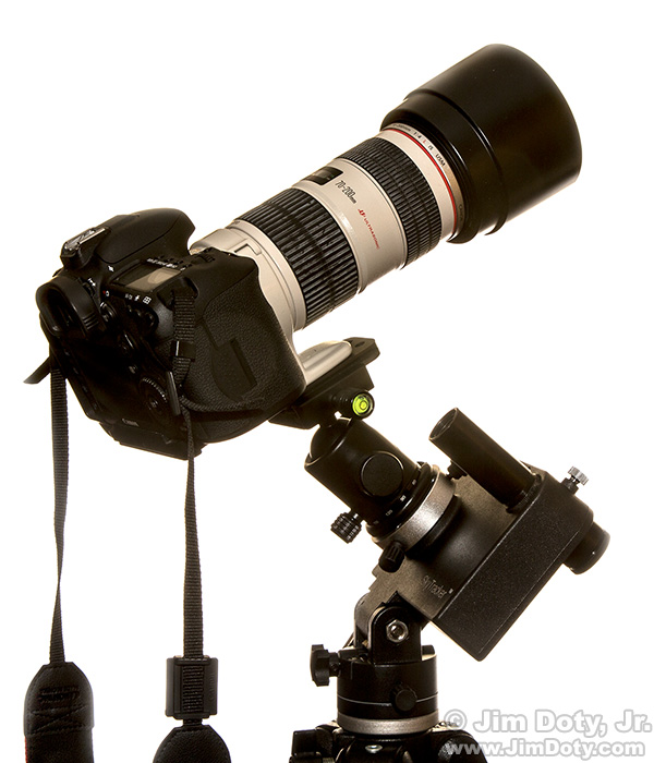 Camera and telephoto lens mounted on an iOptron Sky Tracker and iOptron ball head.