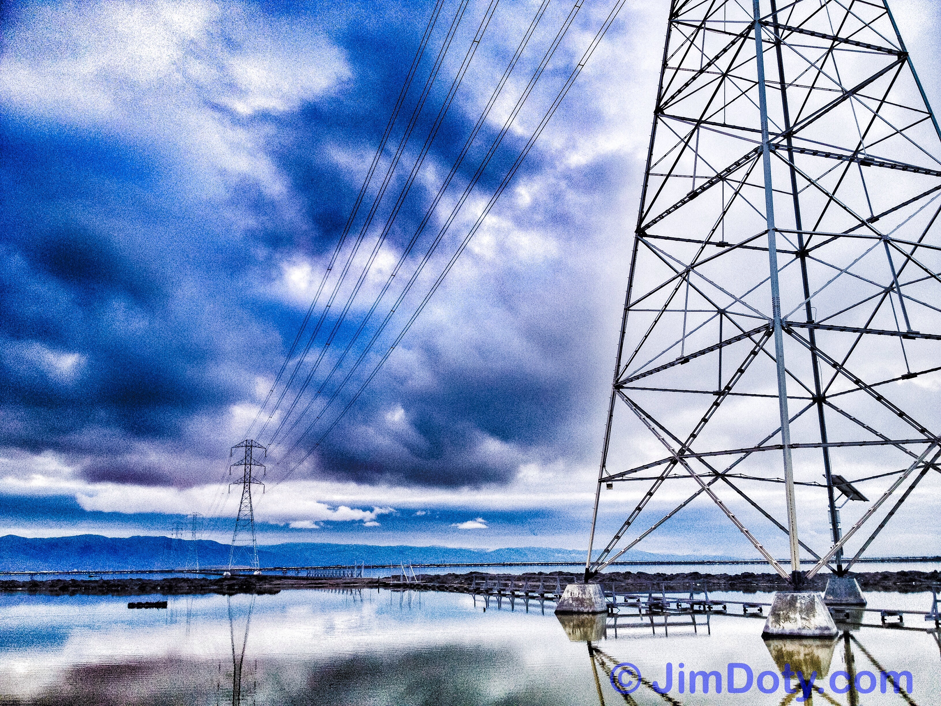Power towers and power lines.