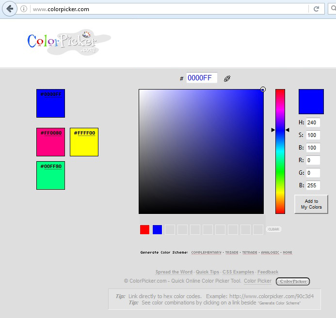 RGB values for Blue: 0, 0, 255