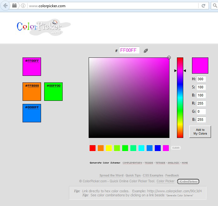 The color values for Magenta. Screen Capture from ColorPicker.com.