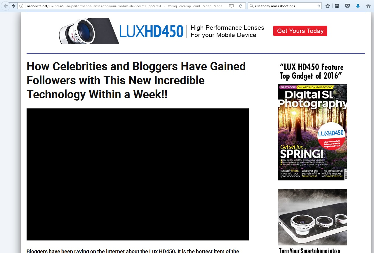 Screen capture: LUX HD450 article/ad.