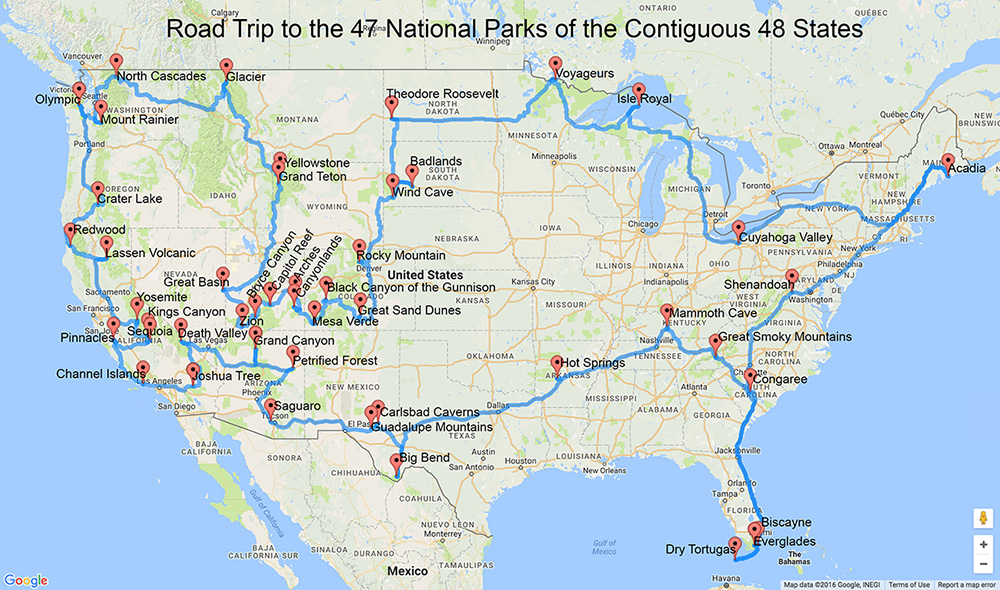 A Road Trip to All of the National Parks in the Lower 48 States