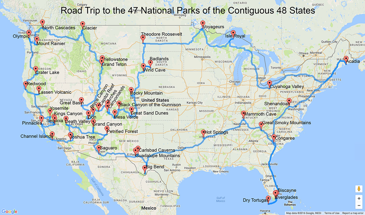 A road trip to the national parks in the lower 48 states. Click for a larger version.