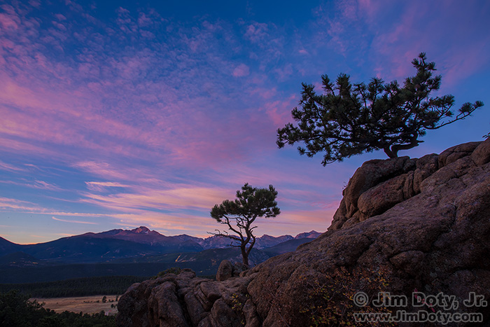 Dawn, scenic overlook. Rocky Mountain National Park, Colorado. Combined exposures for one HDR image.