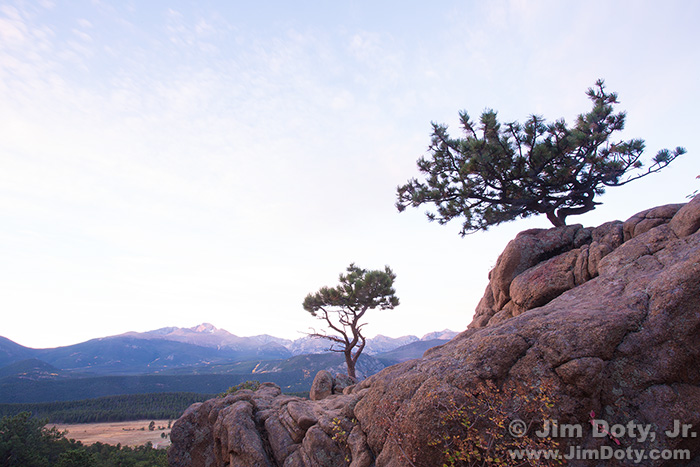 Dawn, scenic overlook. Rocky Mountain National Park, Colorado. Exposure for the rocks..