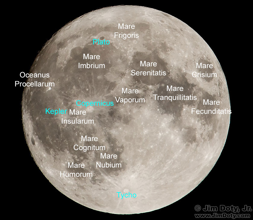 Super Moon. Lunar maria (seas) labeled in white and craters in cyan.