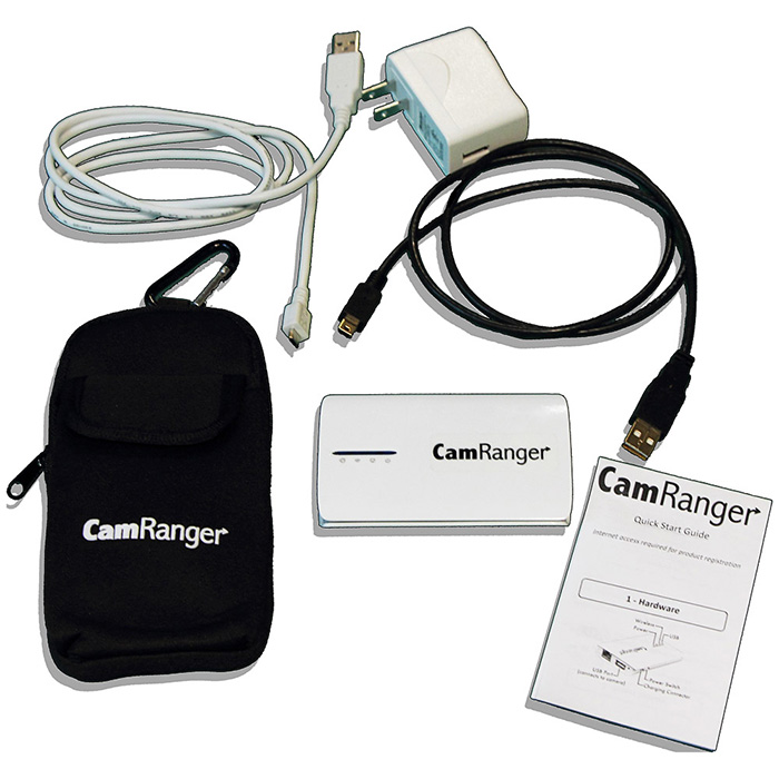 CamRanger and included charger, cables, case, and instructions.