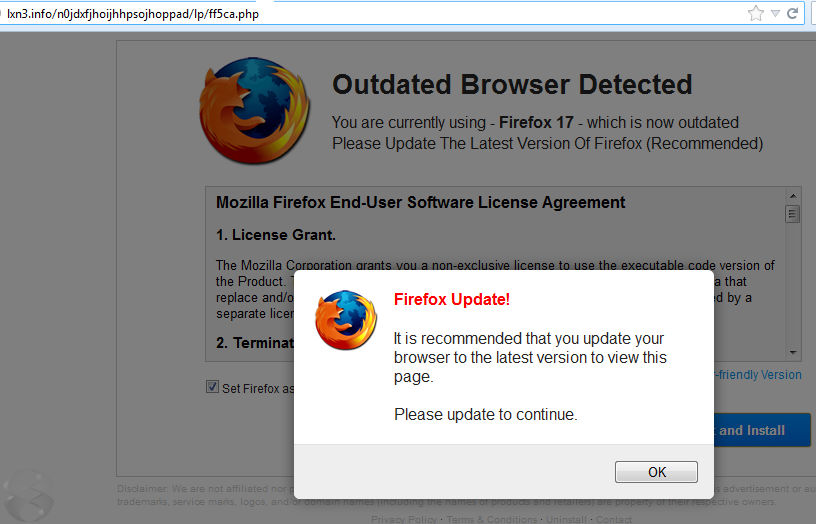 Fake Firefox update notice.