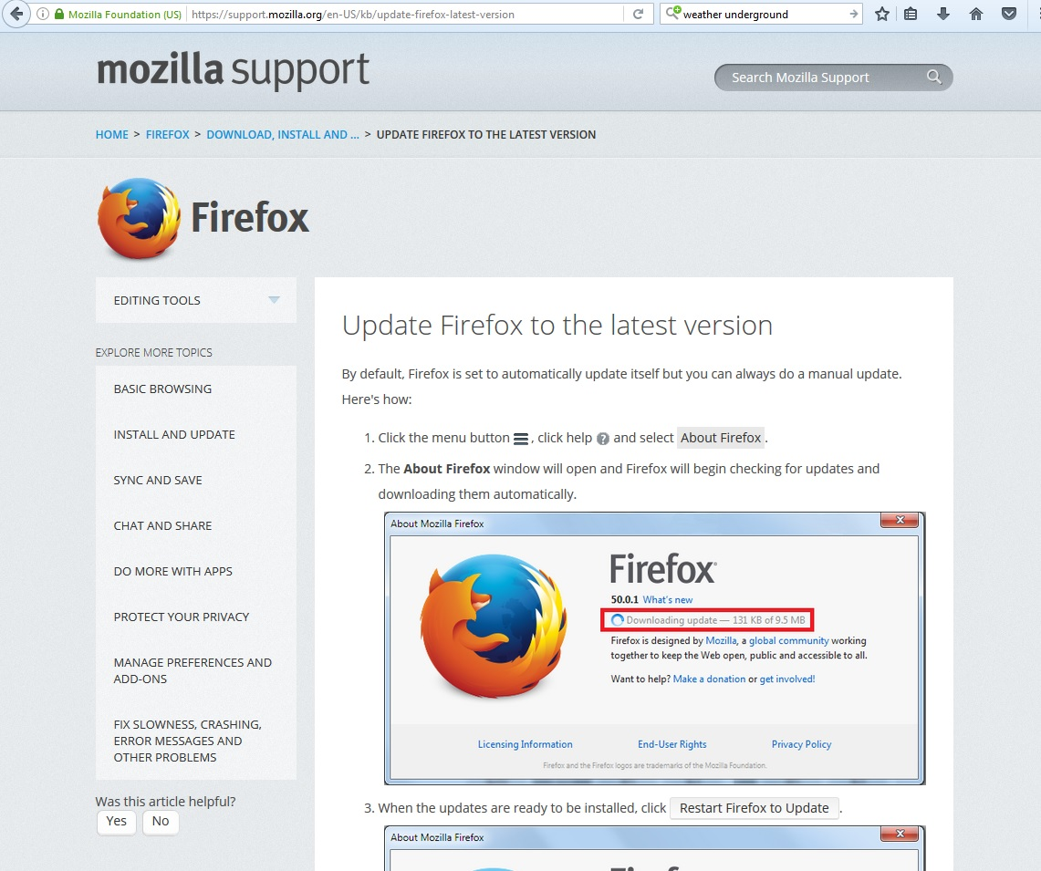 Mozilla instructions for checking if Firefox is up to date.