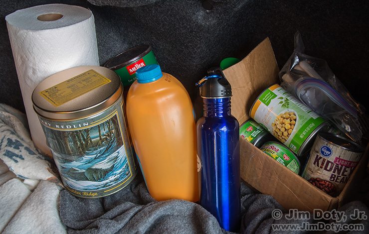 Some of the winter travel items I carry in the trunk of my car.