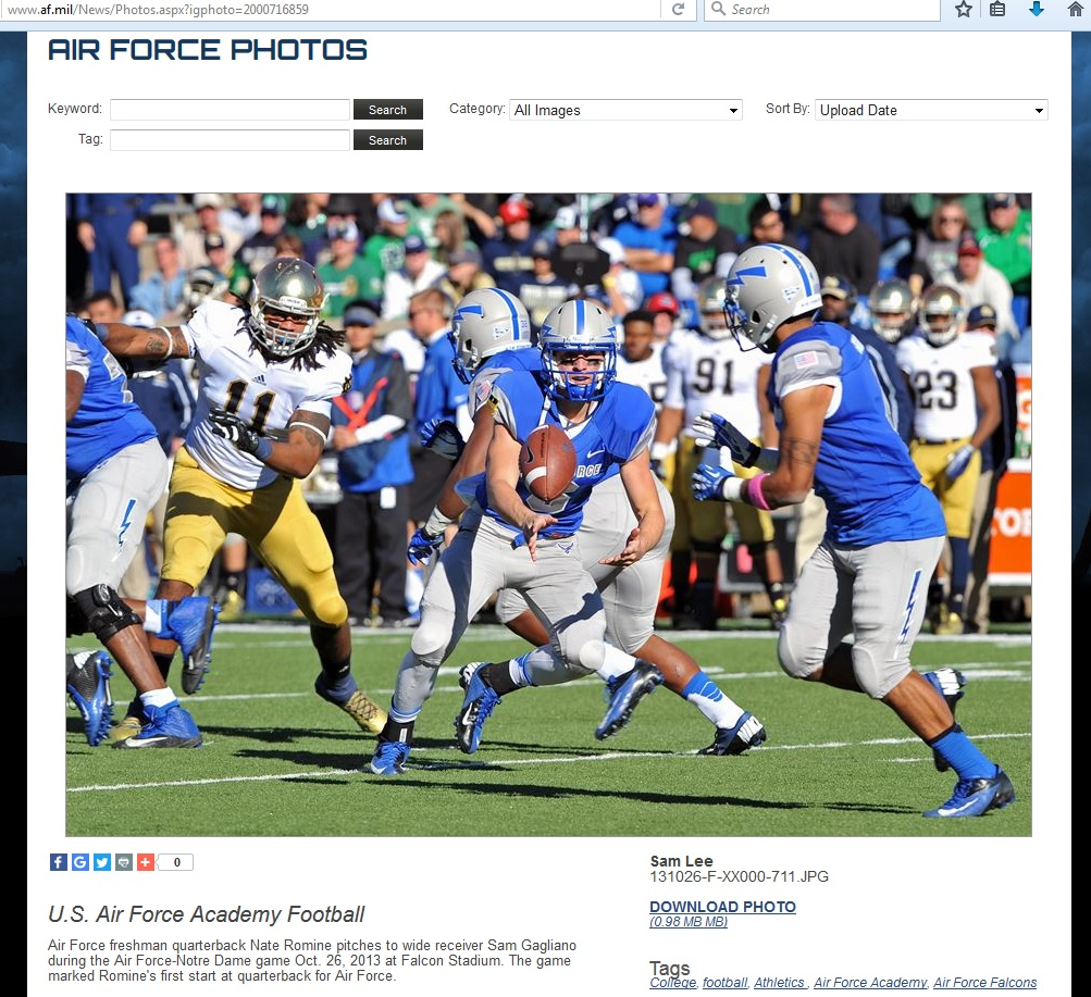 U.S. Air Force Military Academy football photo.