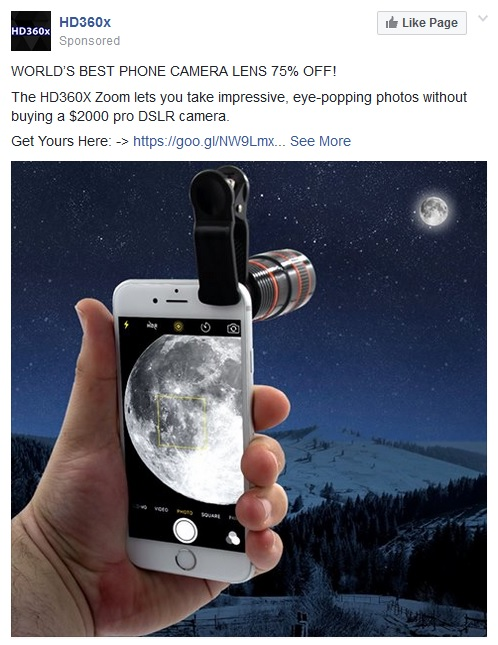 HD360x ad on FaceBook.