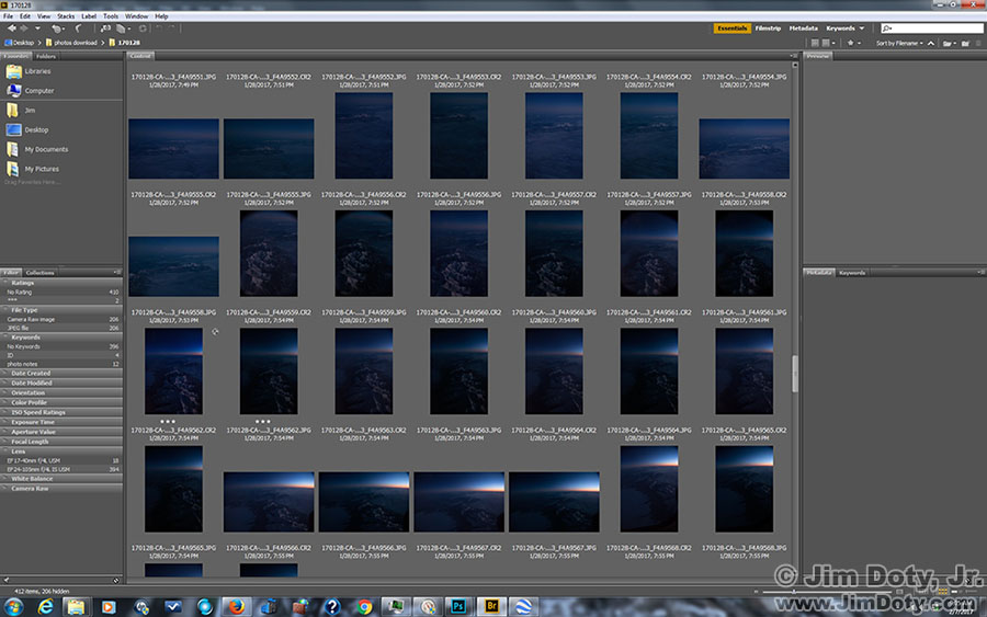 Adobe Bridge, photos of the Sangre de Cristo Mountains.