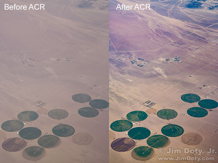 Crop Circles, Southern Nevada, before and after processing with Adobe Camera Raw