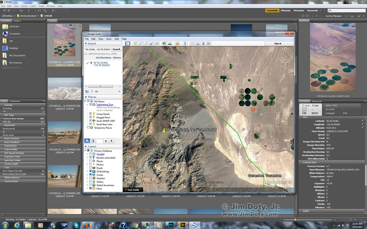 Adobe Bridge and Google Earth. Click for a larger version.
