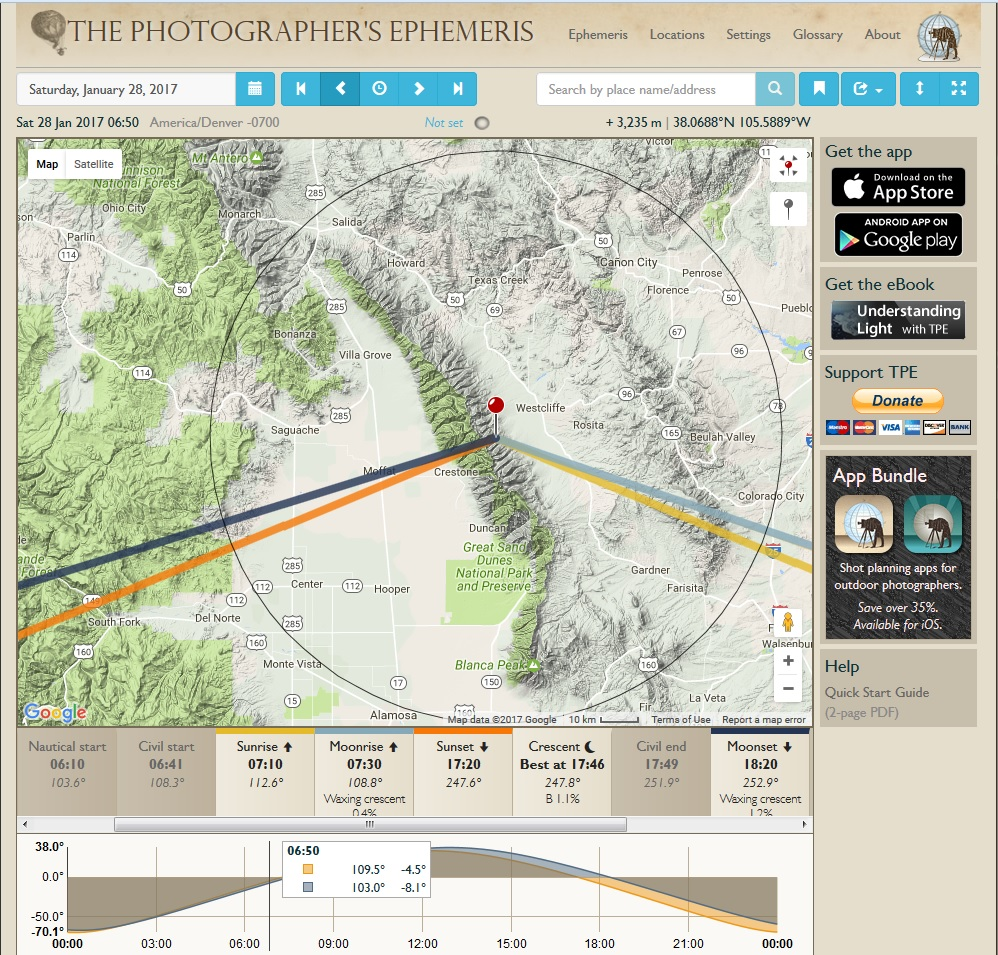 The Photographer's Ephemeris for January 28, 2017 over the Sangre de Cristo Mountains.