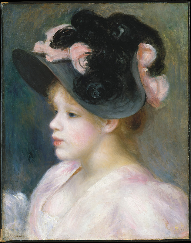 """Young Girl in a Pink-and-Black Hat"" by Auguste Renoir"