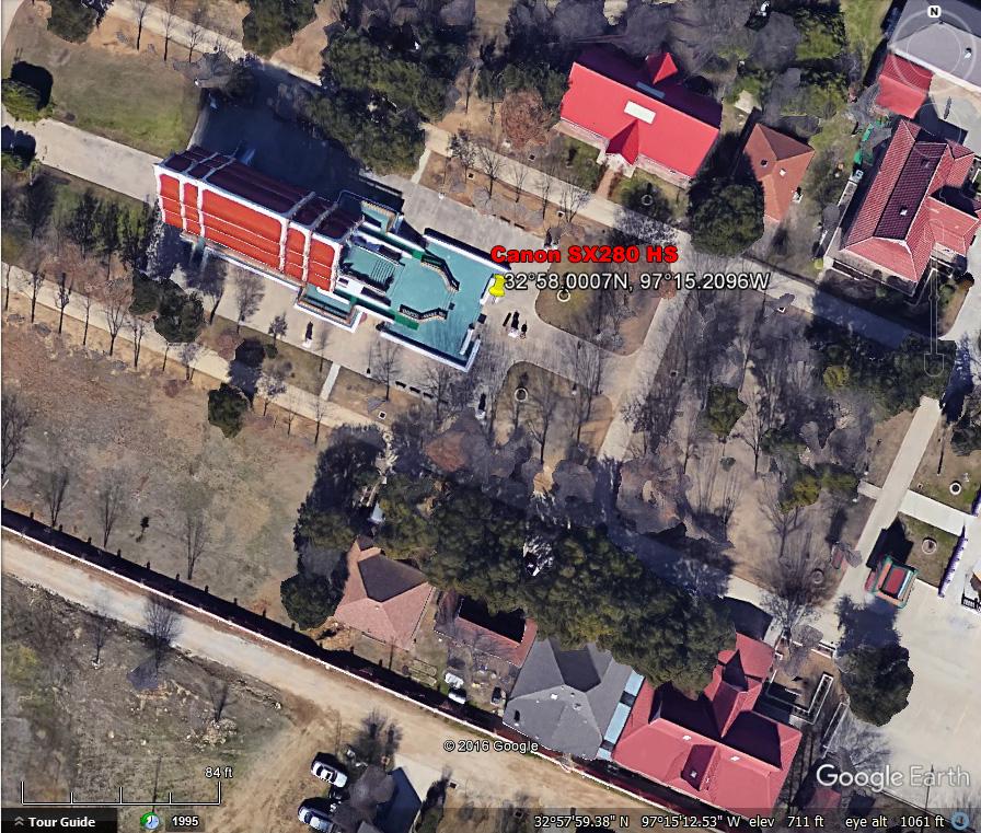 GPS coordinates, Canon SX280 HS, Buddhist Temple, Keller Texas.